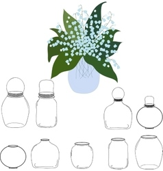Jars set bouquet of lilies the valley in jar vector