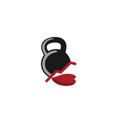 Kettle bell and love fitness member logo design vector