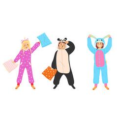 kids animal pajamas boys and girls vector image