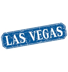Las Vegas blue square grunge retro style sign vector