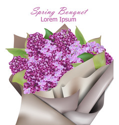 lilac flowers bouquet background realistic vector image