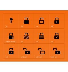 locks icons on orange background vector image