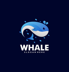 logo whale gradient colorful style vector image