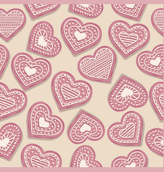 love seamless pattern with pink heart cookies vector image