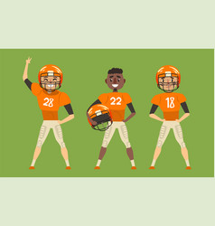 male rugplayers set american football players vector image