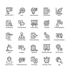 Market and economic line icons vector