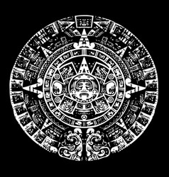 mayan calendar black and white with high detail vector image