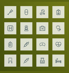medicine icons line style set with clinic vector image