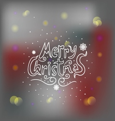 Merry christmas greeting card with bokeh effect vector