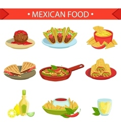Mexican Food Famous Dishes Set vector