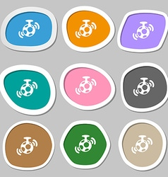Mirror ball disco icon symbols Multicolored paper vector
