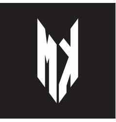 mk logo monogram with emblem style isolated vector image