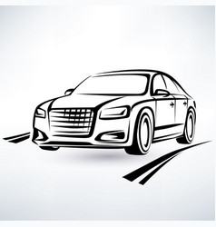 Modern luxury car symbol outlined sketch vector