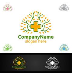 natural cross medical hospital logo for emergency vector image