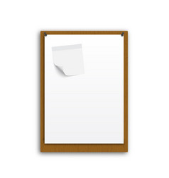 Note paper with conceptual idea on wood background vector