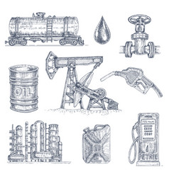 Oil industry drawn icon set vector