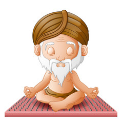 Old man meditate while sitting on a board vector