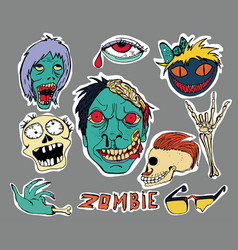 Patches and stickers collection zombie vector