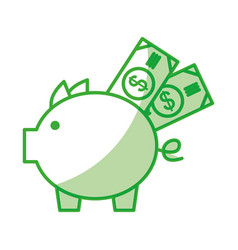 piggy savings with bills vector image