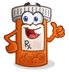 Pill bottle smiling cartoon character vector