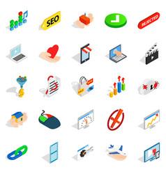 Precaution icons set isometric style vector