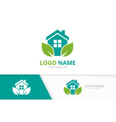real estate and leaves logo combination vector image