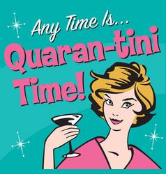 Retro woman enjoys martini in quarantine vector