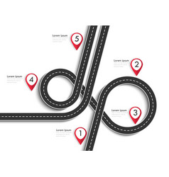 Road trip and journey route winding road vector