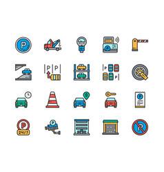 Set car parking flat color icons truck vector