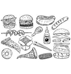 set hand drawn fast food burger pizza hot dog vector image