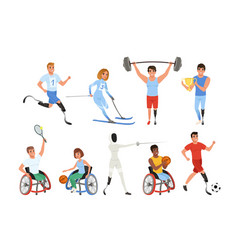 set of paralympics athletes with physical vector image