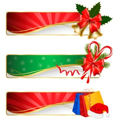 set of winter christmas banners vector image