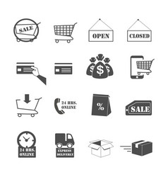 shopping online and e-commerce icons set vector image