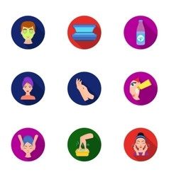 Skin care set icons in flat style Big collection vector