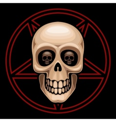 Skull and pentagram vector