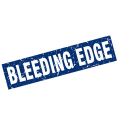 Square grunge blue bleeding edge stamp vector
