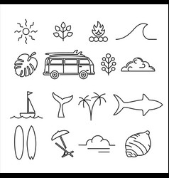 summer holiday adventure line art icon set vector image