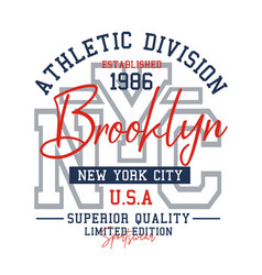 typography design athletic nyc brooklyn vector image