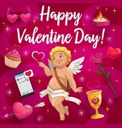 valentine day cupid angel and love hearts vector image