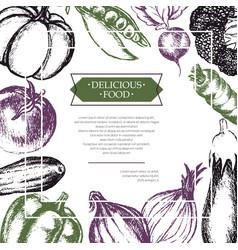 vegetables - color hand drawn composite flyer vector image