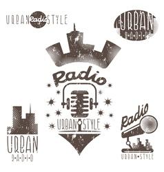 Vintage grunge labels urban radio vector
