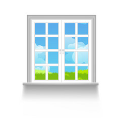 Window with sky clouds and grass outside vector