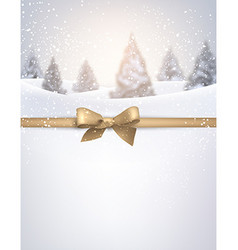 Winter background with golden bow vector