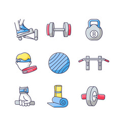 Workout equipment rgb color icons set vector