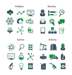 business analytics science and industry icons set vector image vector image