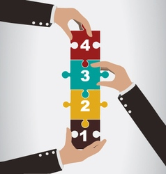 Business people help to assembly vertical puzzle vector image vector image