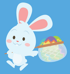 Happy bunny with egg style easter theme vector