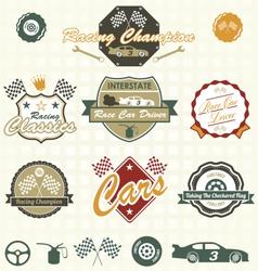 Retro Car Racing Labels vector image vector image