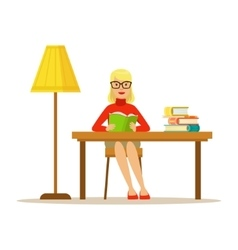 Woman Reading Book At The Desk With The Lamp vector image vector image
