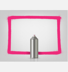 aerosol spray on grey background with pink frame vector image